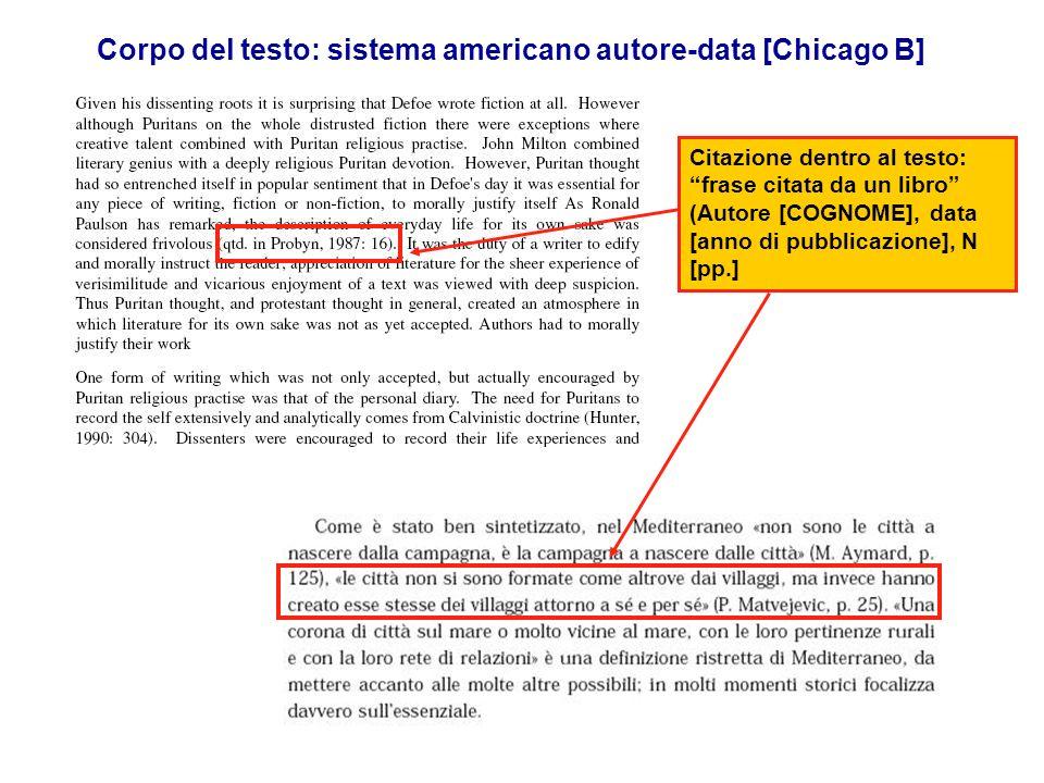 Corpo del testo: sistema americano autore-data [Chicago B]